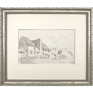 "Antique English Pen & Ink Cottage Drawing ""A Street in Plympton"" 1923 For Sale"