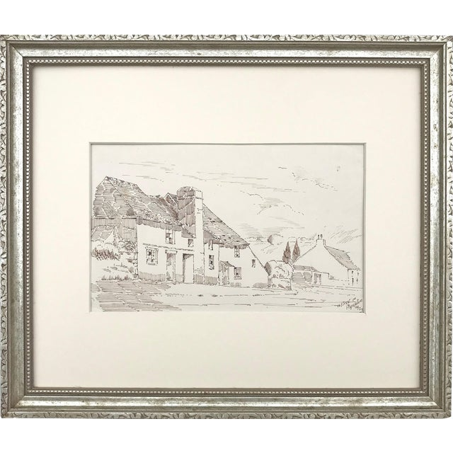 """Image of Antique English Pen & Ink Cottage Drawing """"A Street in Plympton"""" 1923"""
