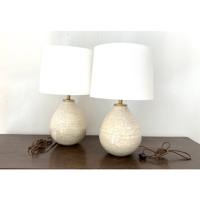 Organic Modern Handmade Ceramic Table Lamps - a Pair For Sale - Image 11 of 11
