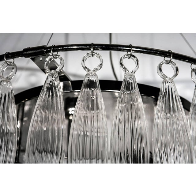 Tassels Clear Murano Glass Chandelier on a Chrome Base For Sale In Palm Springs - Image 6 of 8