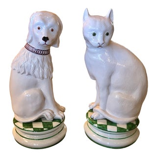 Vintage Ceramic Cat and Dog - a Pair For Sale