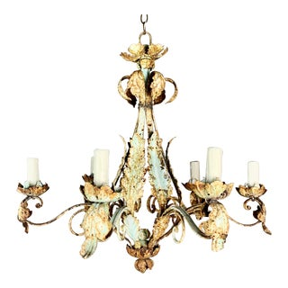 Six Light Wrought Iron Italian Painted Chandelier For Sale