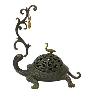Chinese Brown Metal Turtle Fengshui Incense Holder Figure For Sale