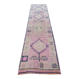 "Vintage Kurdish Pink Navy Faded Geometric Wool Rug Runner - 11'3"" X 2'10"""