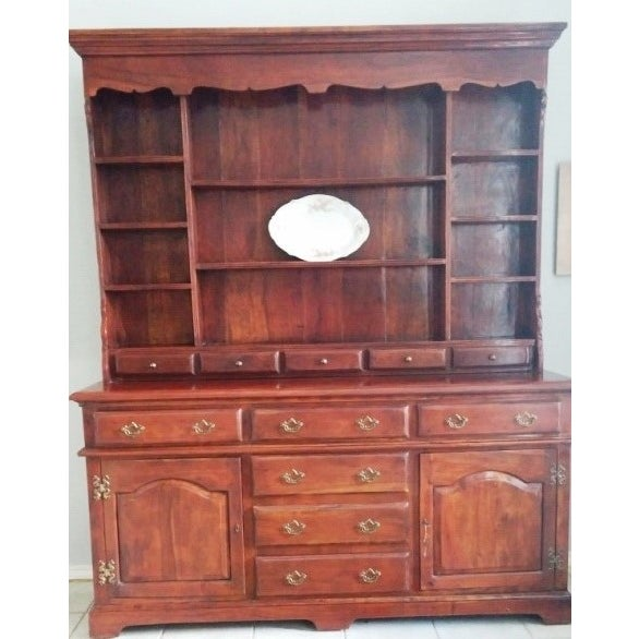 Theodore Alexander Solid Walnut Open China Cabinet - Image 2 of 7