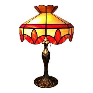 Vintage Tiffany Style Caramel Peach Swirl Slag Glass Table Lamp For Sale