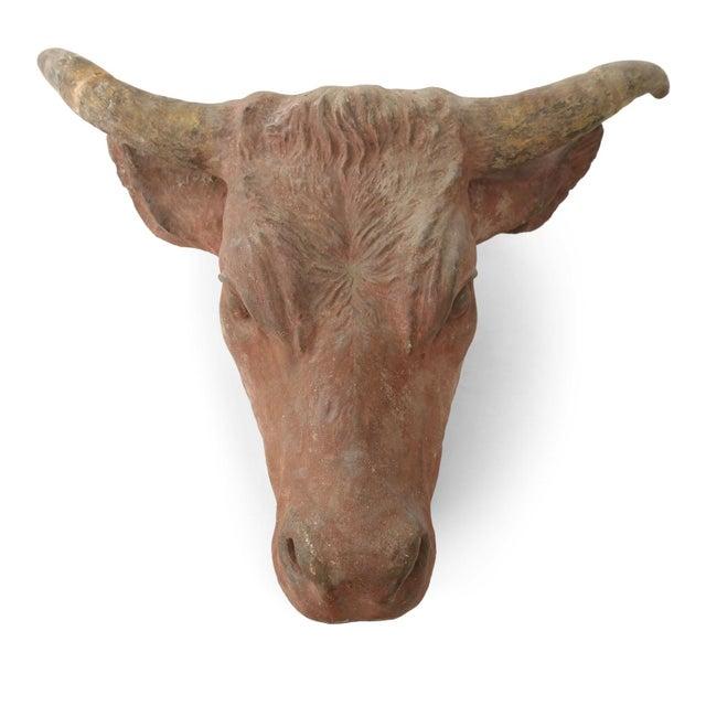 Painted concrete bull head: wonderfully detailed tête de vache architectural element, painted in subtle soft, yet...