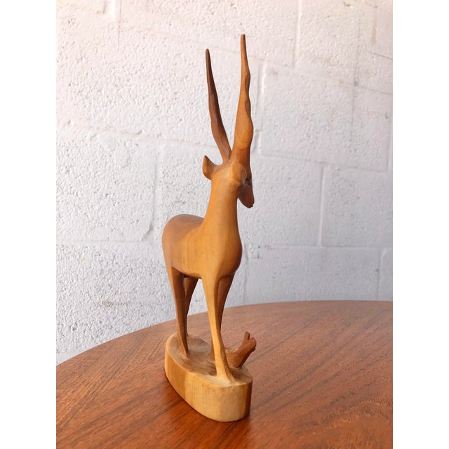 Vintage Mid Century Modern Hand Carved Wood Antelope Sculpture For Sale - Image 4 of 8