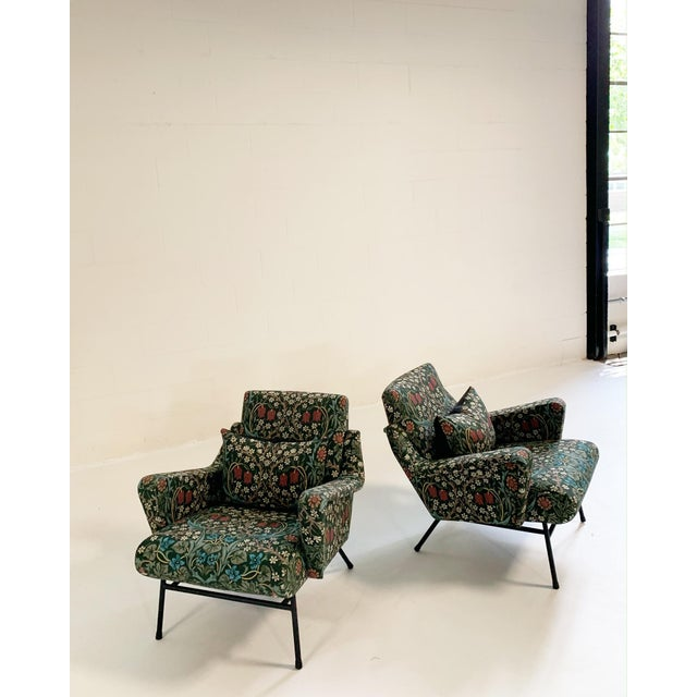 Modern C. 1955 French Lounge Chairs in William Morris Blackthorn, Pair For Sale - Image 3 of 12