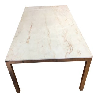 1970s Onyx Marble Topped Table With Chrome Legs and Frame For Sale