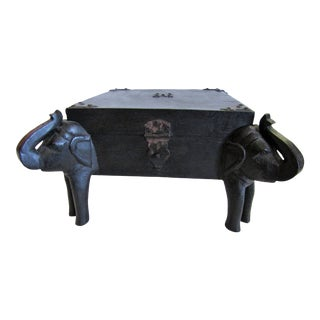 1990s Boho Chic Carved Wood African Elephant Tabletop Box For Sale