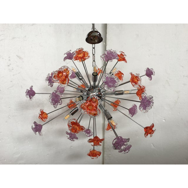 Murano Contemporary Murano Glass Flowers Sputnik Chandelier For Sale - Image 4 of 12