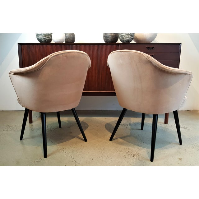 Ico Parisi Italian Modern Blush Velvet Chairs - A Pair For Sale - Image 4 of 10