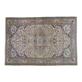 """1940s Turkish Antique White and Blue Wool Rug - 6'6""""x9'7"""" For Sale"""