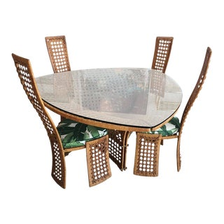 Danny Ho Fong Rattan & Wicker Dining Table and Chairs Set For Sale