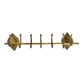 Antique Brass Horse Head 5 Hook Wall-Mount Rack For Sale