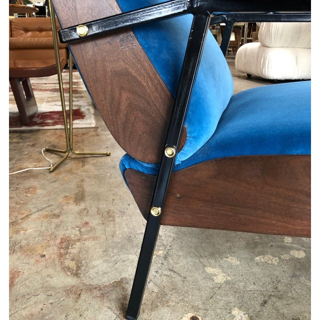 Lounge Armchairs in Wood and Blue Suede, Italy 1950s - a Pair For Sale - Image 9 of 11