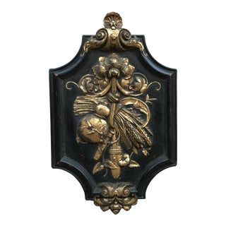 19th Century Antique Wall Hanging Gilded Plaster Decor For Sale