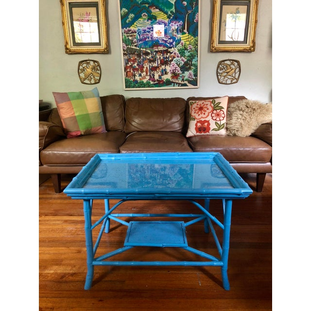 What a focal point! The silhouette! The color! Originally a Victorian bamboo table, which was later repainted in a...