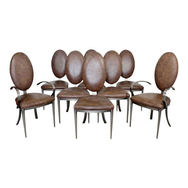 Contemporary Modern Dia Brown Leather Aluminum Dining Chairs - Set of 8 For Sale