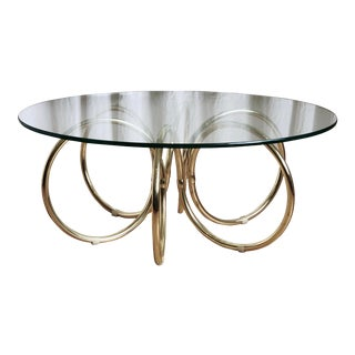 Mid Century Modern Brass Coil and Glass Round Coffee Table For Sale
