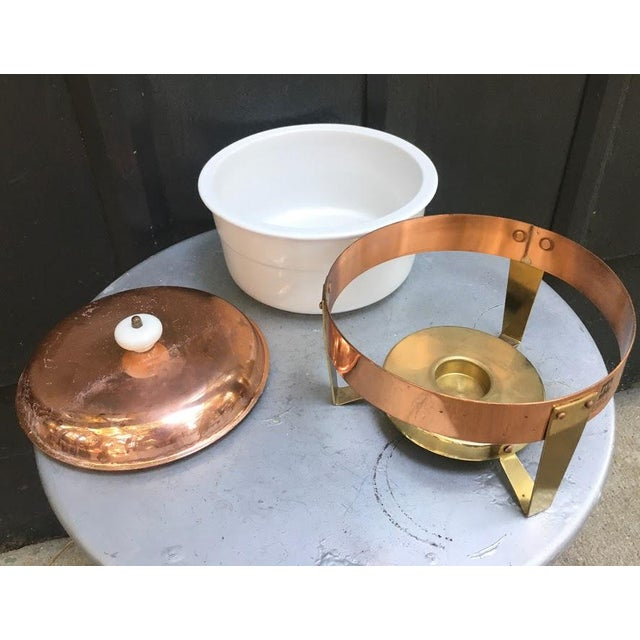 1960s Mid-Century Metalutil Copper/Ceramic Warming Serving Set For Sale - Image 4 of 5