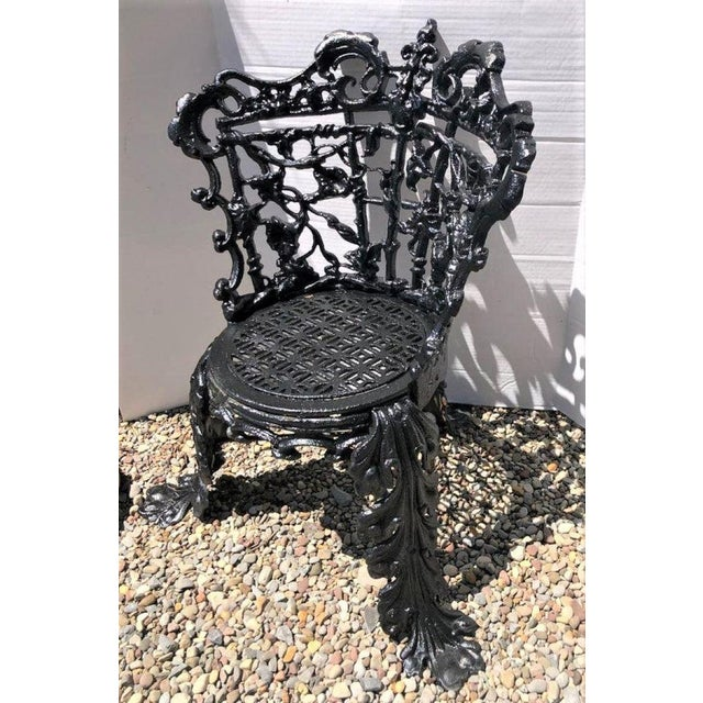 Victorian Antique Garden Chair Cast Iron in the Morning Glory Pattern For Sale - Image 3 of 13