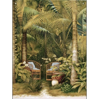 "Original Oil on Canvas Painting ""Bamboo Chairs in a Palm Grove For Sale"