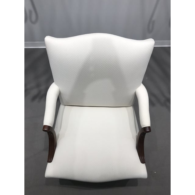 Off white linen upholstered Mark Hampton side chair. No stains on upholstery. Wood legs needs some touch up. No cracks or...