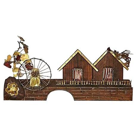 Metal Waterwheel & House Wall Sculpture For Sale