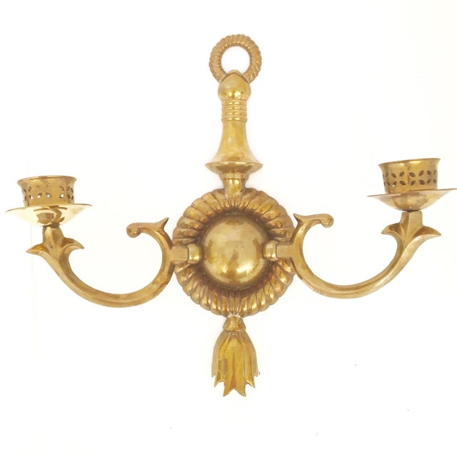 Brass Two Arm Sconces- Pair - Image 5 of 9