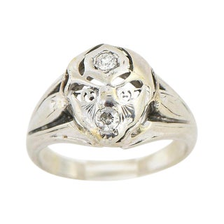 14k White Gold & Diamond Face Ring For Sale