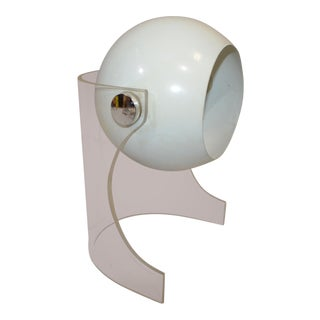Mid Century Modern Robert Sonneman Lucite Base White Eyeball Table Lamp For Sale