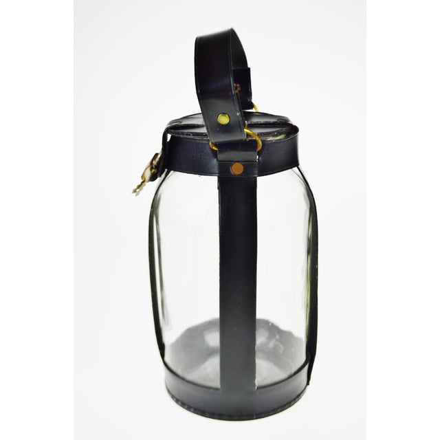 Gold Vintage 1950's Leatherette Wrapped Glass Coin Jar Piggy Bank with Lock and Key For Sale - Image 8 of 10