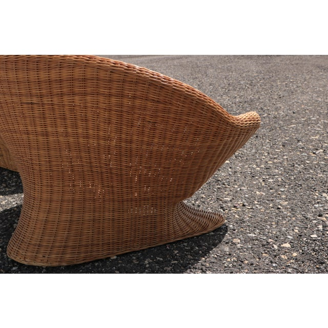 Wicker Low Lounge Chairs - a Pair For Sale - Image 9 of 13