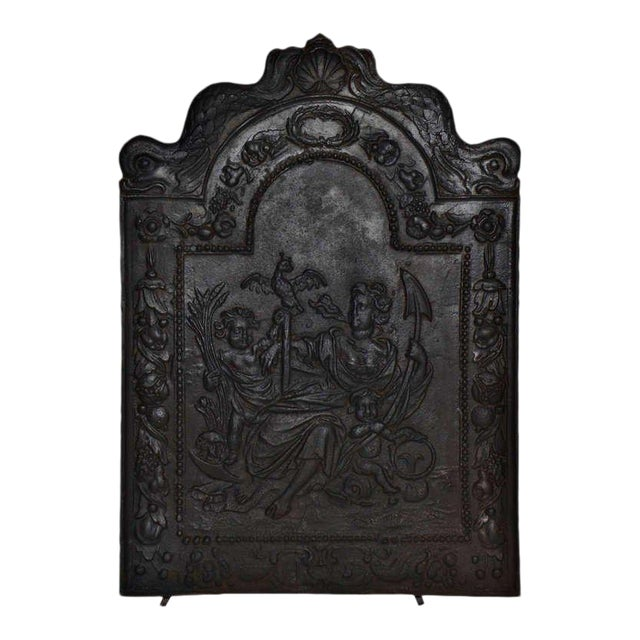"""17th c. Antique Cast Iron Fireback Displaying """"Spes"""" The Goddess Hope For Sale"""