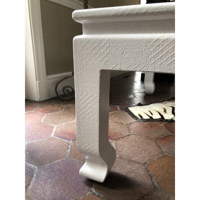 Vintage Asian modern coffee table in the style of Karl Springer.Table is linen wrapped giving it a rich texture. Newly...