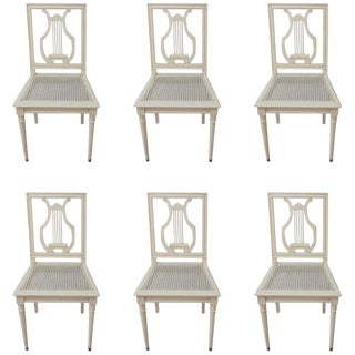 Gustavian Style Painted Lyre Back Dining Chairs With Cane Seat & Linen Seat Cushions - Set of 6 For Sale