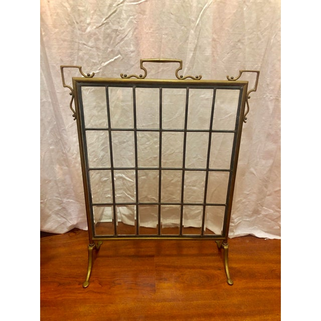 Vintage Beveled Glass and Brass Fireplace Screen For Sale - Image 4 of 4