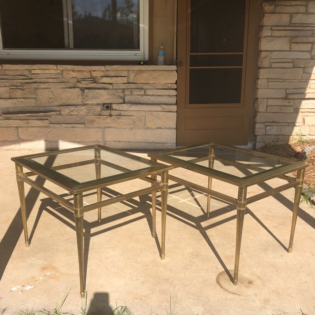 Glass Top Brass End Tables - a Pair For Sale - Image 13 of 13