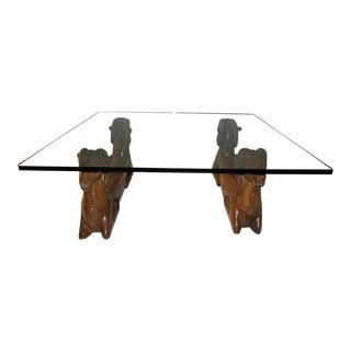20th Century Recumbent Goat Glass Top Coffee Cocktail Table