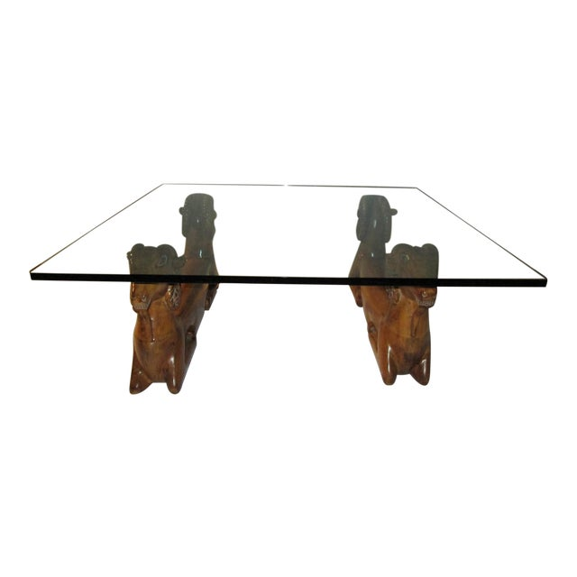 20th Century Recumbent Goat Glass Top Coffee Cocktail Table For Sale