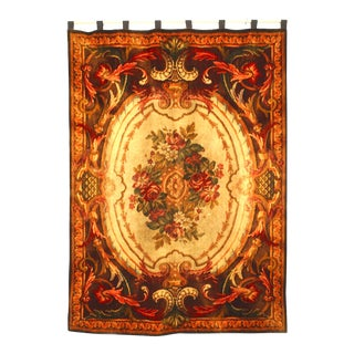 French Victorian Brown and Beige Hanging Table Cover For Sale