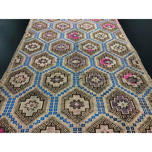 1960s Vintage Primitive Nomadic Aztec Turkish Traditional Wool Handmade Kilim Rug- 6′ × 8′8″ For Sale - Image 9 of 11