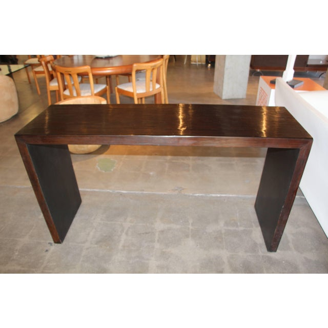 Bamboo Veneered Grained Brown Console For Sale - Image 9 of 10