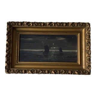 Antique Ships at Sea Oil Painting on Canvas