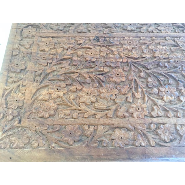 Early 20th Century Anglo Raj Hand-Carved Wooden Decorative Jewelry Box For Sale - Image 10 of 13