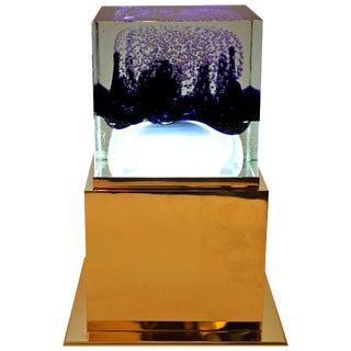1990s Italian Table Lamp in Murano Glass With Inclusive Air Bubble Design