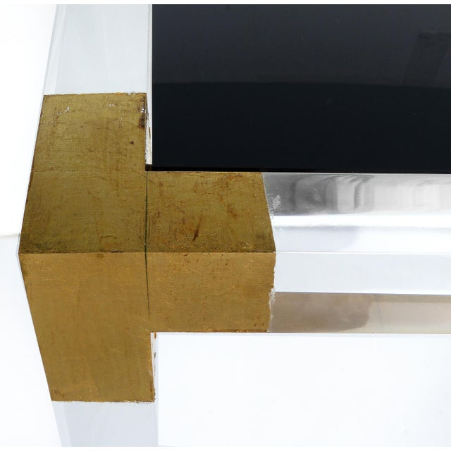 Custom Lucite Side Table With Interchangeable Tops and Gold Leaf Accents For Sale - Image 9 of 10