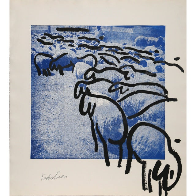 "Menashe Kadishman, ""Sheep 2"", Pop Art Animal Print For Sale"